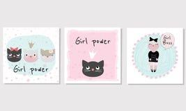 """Установите 3 карт вектора с котами и силой девушки лозунга """" стоковые изображения rf"""