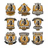 Установите красочных логотипов, эмблем, воина стороны бородатого на предпосылке 2 перекрестных шпаг Рыцари темы иллюстрация вектора