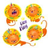 Установите 4 львов с пер и листьев в его волосах иллюстрация штока