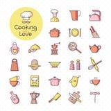 Установите пиксел-идеальных красочных значков кухни, изолированный на белой предпосылке бесплатная иллюстрация