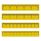 Установите правителей с масштабом и номерами также вектор иллюстрации притяжки corel иллюстрация штока