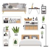 Установите для стильной современной мебели в скандинавском стиле Minimalistic и уютный интерьер с ящиками, кроватью, полками и ла иллюстрация штока