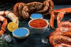 Установите свежих морепродуктов стоковая фотография