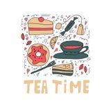Установите сладких веществ Торты, donuts, чай и помадки Вектор установил в стиль doodle csrtoon бесплатная иллюстрация