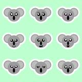 Установите стикеров коалы Различные эмоции, выражения Стикер в стиле аниме вода вектора свежей иллюстрации конструкции естественн иллюстрация штока