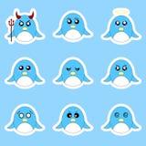 Установите стикеров пингвина Различные эмоции, выражения Стикер в стиле аниме вода вектора свежей иллюстрации конструкции естеств иллюстрация вектора