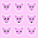 Установите стикеров свиньи Различные эмоции, выражения Стикер в стиле аниме вода вектора свежей иллюстрации конструкции естествен иллюстрация вектора