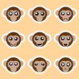 Установите стикеров обезьяны Различные эмоции, выражения Стикер в стиле аниме вода вектора свежей иллюстрации конструкции естеств иллюстрация штока