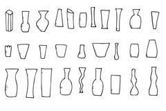 Установите vaves цветков вектора в стиле doodle иллюстрация штока