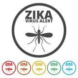 Установленные значки вируса Zika иллюстрация штока