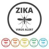 Установленные значки вируса Zika иллюстрация вектора