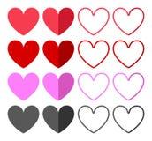 Установленные значки сердец бесплатная иллюстрация