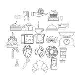 Установленные значки, стиль печений плана бесплатная иллюстрация