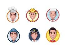 Установленные плоские воплощения значков различных профессий Пожарный, доктор, полицейский, повар, механик также вектор иллюстрац иллюстрация вектора