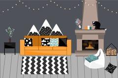 Уютный интерьер вектора в скандинавском стиле Живущая комната с камином, удобной яркой софой с подушками, темным серым цветом иллюстрация штока