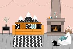 Уютный интерьер вектора в скандинавском стиле Живущая комната с камином, удобной яркой софой с подушками, гирляндами иллюстрация штока