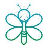 Ухудшенная линия милое животное насекомого бабочки с крыльями бесплатная иллюстрация