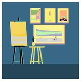 Easels or painting art boards with  canvas. Flat style.  easels or painting art boards with  canvas of different sizes vector illustration