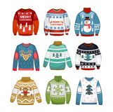 Ugly sweaters set isolated on white background. stock illustration