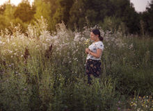Уoung girl on the background of wildflowers Stock Images