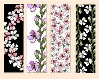 A set of floral bookmarks, flyers with pink and white flowers, stock illustration