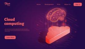 Шаблон интернет-страницы облака вычисляя приземляясь Равновеликая иллюстрация вектора иллюстрация штока