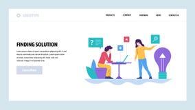 Шаблон конструкции вебсайта вектора Решение дела и новая творческая идея Приземляясь концепции страницы для вебсайта и черни иллюстрация вектора