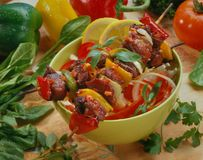 Shish kebab from chicken, pork, meat royalty free stock photo