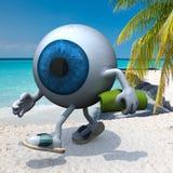 Шарик голубого глаза на пляже иллюстрация вектора