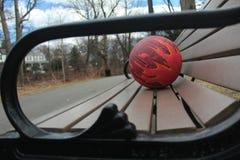 Шарик для баскетбола на скамейке в парке стоковая фотография rf