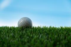 Шар для игры в гольф на траве в предпосылке голубого неба стоковая фотография rf