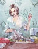 Шить иллюстрация акварели женщины иллюстрация вектора