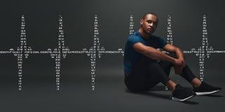 ширины Красивый спортсмен сидя над темной предпосылкой Графический чертеж иллюстрация штока