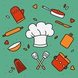 Шляпа шеф-повара окруженная утварями кухни бесплатная иллюстрация