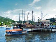 Шлюпка пирата в Camboriu стоковое изображение rf