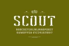 шрифт serif Восковк-плиты узкий в военном стиле иллюстрация вектора