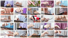 таблетка близкого экрана ПК человека изображения руки фокуса перста поля глубины цифрового самомоднейшего отмелая касатьясь вверх иллюстрация вектора