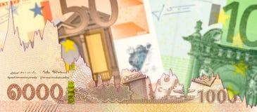 Тайский бат новые 1000 против банкнот евро с диаграммой спада показывая торговые связи стоковое изображение rf