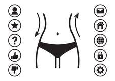 Талия женщин и меню значков сети также вектор иллюстрации притяжки corel иллюстрация вектора