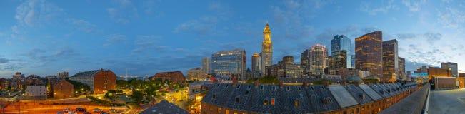 Таможня Бостона на ноче, США стоковые фото
