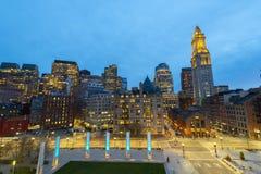 Таможня Бостона на ноче, США стоковое изображение
