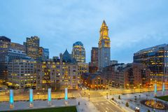 Таможня Бостона на ноче, США стоковое фото rf