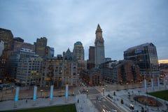 Таможня Бостона на ноче, США стоковое фото