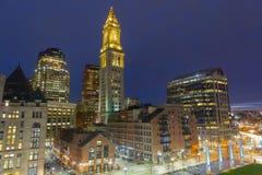 Таможня Бостона на ноче, США стоковая фотография