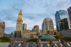 Таможня Бостона на ноче, США стоковые фотографии rf