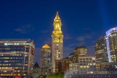 Таможня Бостона на ноче, США стоковые изображения