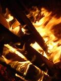 Танцуя пламена от небольшой стрельбы огня взглядом ночи изумляя стоковое изображение