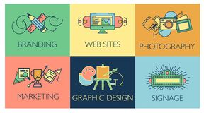 Творческая концепция процесса проектирования с элементами развития студии сети Плоская линия иллюстрация вектора стиля значков со иллюстрация штока
