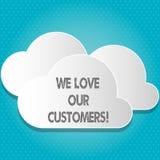 Текст почерка мы любим наших клиентов Клиент смысла концепции заслуживает хорошее уважение удовлетворения обслуживания иллюстрация штока