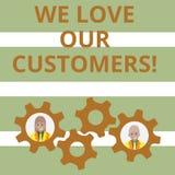 Текст почерка мы любим наших клиентов Клиент смысла концепции заслуживает хорошее уважение удовлетворения обслуживания бесплатная иллюстрация
